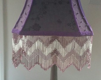Purple handmade Victorian lamp shade with beaded fringe