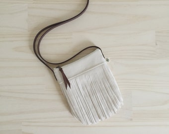 Small Fringe Crossbody, White Fringe Crossbody Bag, Vegan Fringe Purse