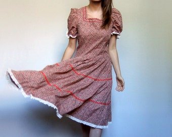 Prairie Dress Boho Dress Hippie Dress 80s Hippy Dress Vintage Boho Floral Short Sleeve Dress Country Dress - Large to Extra Large L XL