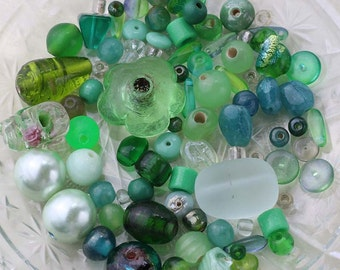 Green Destash Beads, Green Bead Mix, 41g Green Glass Beads, Bead Destash, Mixed Lot of Loose Beads, Green Bead Soup, Holiday Beads #25