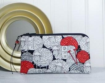 Sheep zipper pouch, coin purse, phone pouch, flat zipper bag, gift for knitter, card cash wallet, makeup bag, coupon pouch, yarn ball sheep