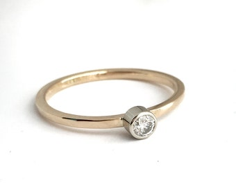 Spark: Darling Diamond Stacking Ring in 14k Yellow Gold, Handmade in Maine