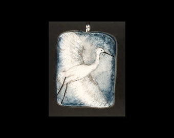 Bird Jewelry: Egret in Flight. Original Ink Drawing on Polymer Clay Pendant. Blue, Pearl White, Black 4170
