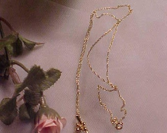 14KT Gold Pendant Necklace On 14KT Gold Chain Crystal Drop Bride/All Occasion