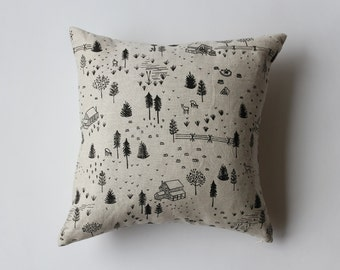 SALE 20% OFF - Linen Pillow Cover - Black Homestead