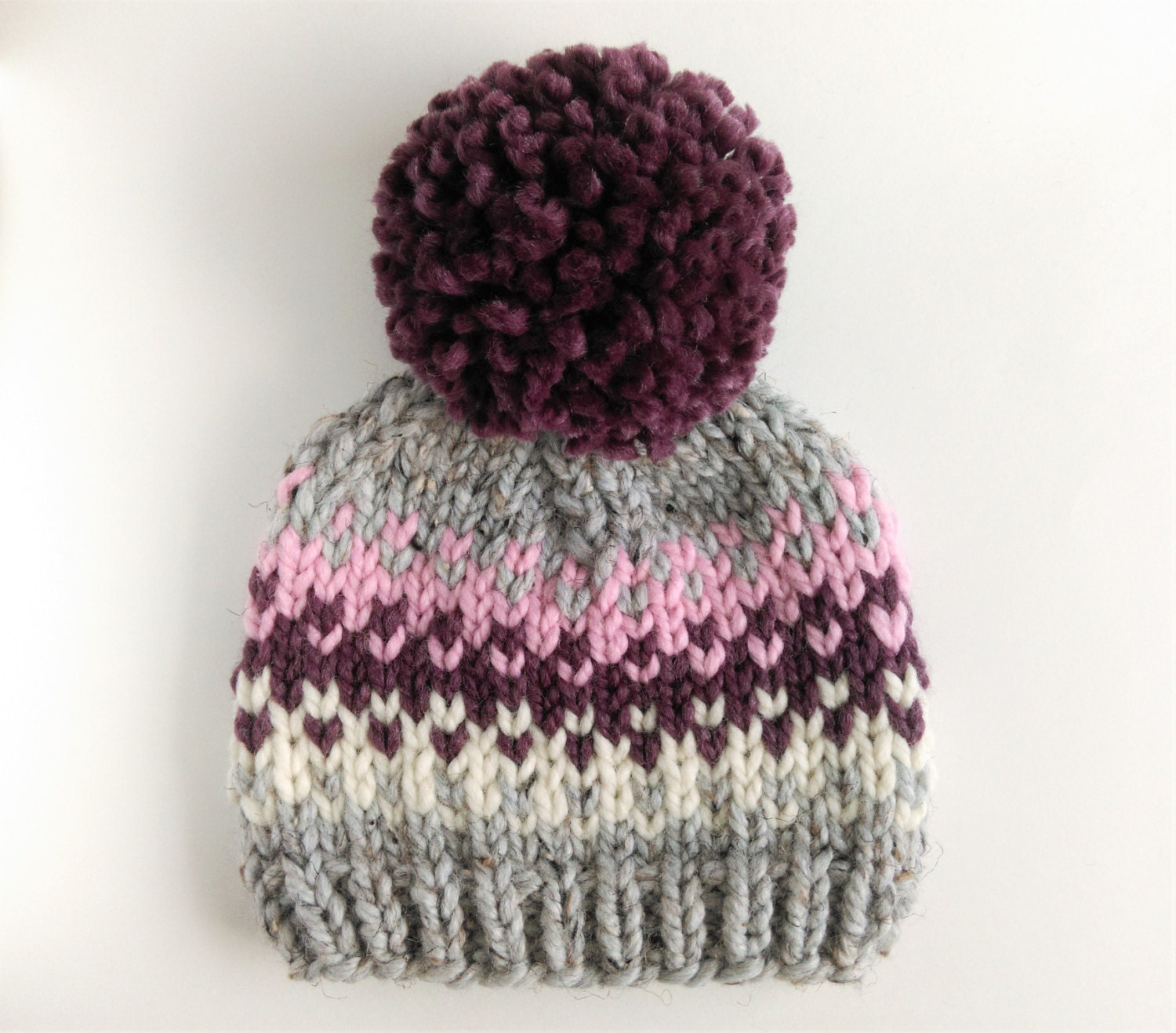 Hat Knitting Pattern // Fair Isle Pom Pom Hat Pattern // Hat Pattern for Kids...