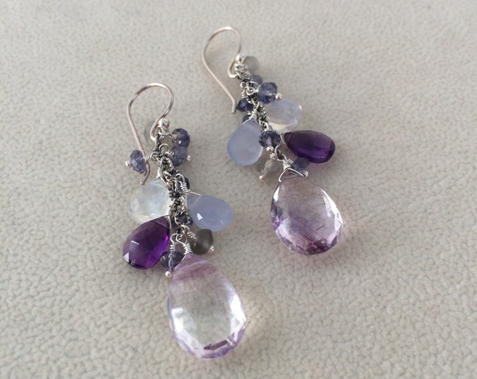 Semiprecious Gemstone Earrings in Oxidized Sterling Silver with Moss Amethyst, Amethyst, Chalcedony, Iolite, Moonstone