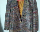 SALE glam jacket grunge 80s 90s  boho metallic silver thread holiday dazzle night evening glitz