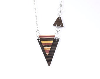 necklace / women / triangle /unique / pendant / wood / isabelle ferland