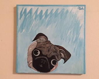 Sam the Pug puppy dog acrylic painting