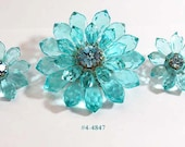 FREE SHIP Western Germany Lucite and Rhinestone Brooch and Earrrings Set