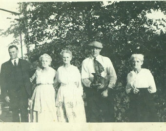 1920s Clark Family Photo With Puppy Dog Old Women Men Antique Vintage Black and White Photo Photograph
