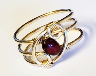Garnet Ring  Garnet Jewelry  January Birthstone January Birthday   14K Gold Fill Rings for Women   Gold Ring   Rings