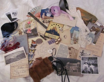 55 Pieces Antique Inspiration Kit for Craft, Scrap Book or Mixed Media Projects (lot 14)