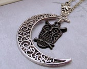 moon and owl necklace, charm necklace, moon necklace, owl necklace, silver necklace