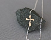 sideways cross necklace, mixed metals, silver and gold, two tone simple handmade, bridesmaid wedding, integrated cross