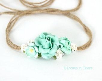Aqua Flower Crown Headband, Baby Tieback Headband, Girls Flower Crown, Flower Girl, Photo Prop,Baby Flower Headband,Tieback flower Headband