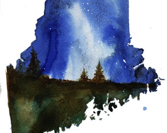 Maine, print from original watercolor illustration by Jessica Durrant from Painting the 50 States Project