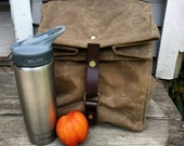 Large Field Tan Waxed Canvas, Cordura, and Leather Reusable Insulated Lunch Bag