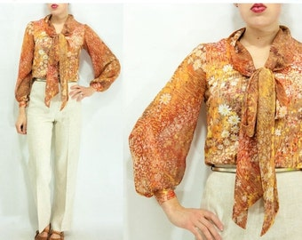 50% OFF SALE... 70's Vintage Abstract Floral Daisy Faux Bois Print Balloon Sleeve Blouse / Ascot Neck Tie / Marigold and Rust Tones
