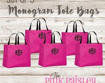 Set of 5 monogram tote bags bridal party bags