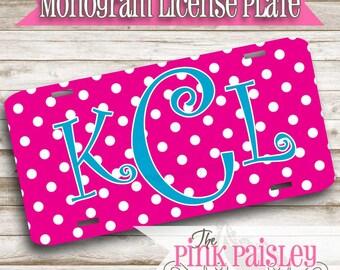 Monogram License Plate | Custom License Plate | Personalized Car Tag | Polka Dot License Plate
