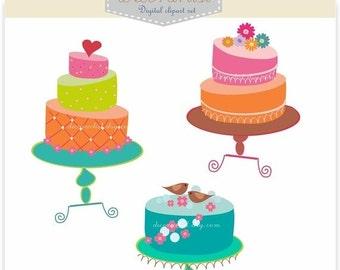 ON SALE clip art, Cake clip art, cakes 2, card making, card, invitation , instant download clip art