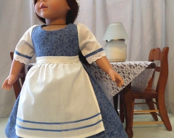 18 Inch Doll Clothes / Doll Dress, Mob Cap Hat And Apron / Doll Outfit / Doll Clothes / Doll Clothing / Doll Accessories - 1041
