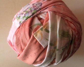 Pink and White Ball of Fabric Strips for Rag Rugs or Crochet