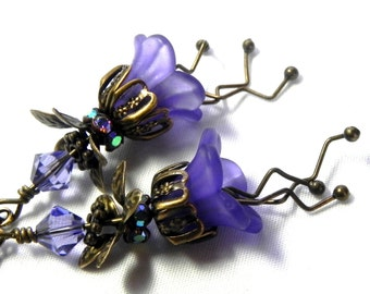 Lucite Flower Earrings - Purple  and Bronze Victorian earrings - Brass bead caps