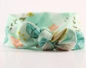 Headband- Mint Flower Top Knot Headband