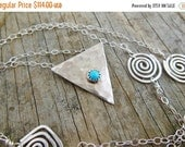 Clearance Triangle Necklace, Sleeping Beauty Turquoise Pendant, Sterling Silver Long Chain, Layering necklace
