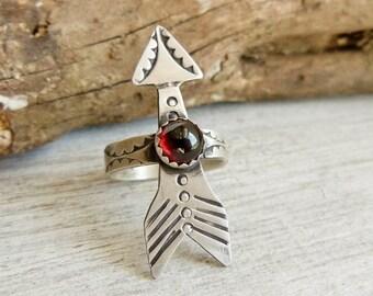 Garnet Arrow Ring, Sterling Silver Gemstone Ring, Garnet Ring, Custom Ring, Boho Jewelry