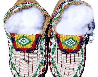 """Vintage Native American Blackfoot Indian Antique 11"""" Beaded Moccasins"""