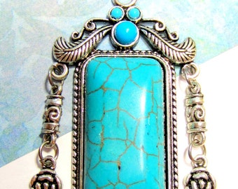 Ethnic Turquoise pendant antique silver charm  jewelry enhancer connector resin howlite 63mm x 39mm  J150