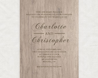 wooden effect wedding invitation - printable file diy, faux carved wood stationery, rustic wedding forest, woodgrain look customised custom
