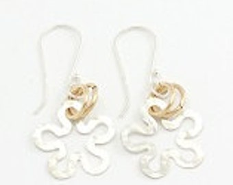 925 sterling silver Flower Earring   and Goldfield Loops