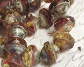 8 x 10mm Saturn Amber Fuchsia Picasso Beads Glass Rondelles Czech glass Beads 10 pieces BOHO Supplies