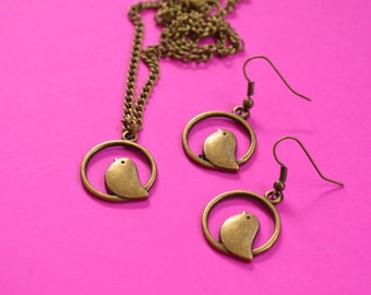 Bird on Perch Necklace and Earrings Set Antique Bronze (AB18)
