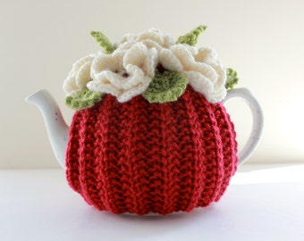 Hand-knitted Floral Tea Cosy in pure wool - Red - Size Small - fits 1-2 cup teapots
