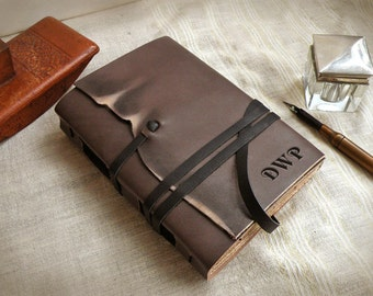 gray brown leather journal, personalized leather notebook, vintage style journal with stained pages, Memorable Thoughts