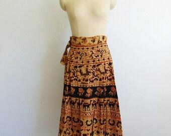 70s INDIA wrap silkscreen print skirt size small