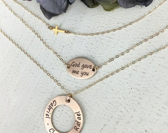 "Personalized God gave me you layering necklace with 1"" washer - Cross layering necklace - Set of 3 layered necklace - Mother necklace"