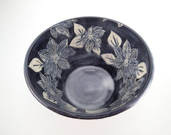 Sgraffito Carved Ceramic Art Bowl - Serving Bowl - Sgraffito Bowl - Carved Clematis Flowers - Stoneware Bowl - Black and White - Mixing Bowl