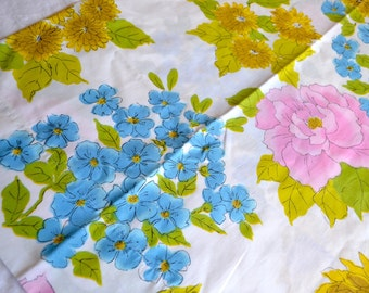 Vintage Pillowcase - Pink Blue Yellow Hydrangea Rose Print - King Size
