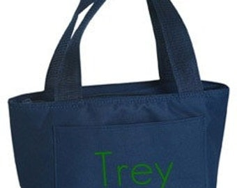 Monogrammed Navy Insulated Lunch Bag Box Cooler Personalized