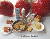 French toasts  preparation board - 1/12 Handmade miniature food