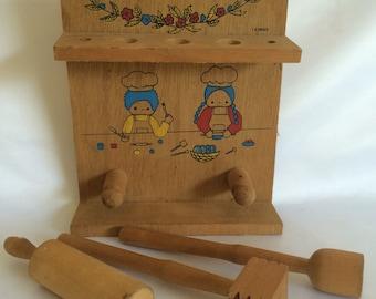 Vintage Child's Wooden Kitchen Utensil Set