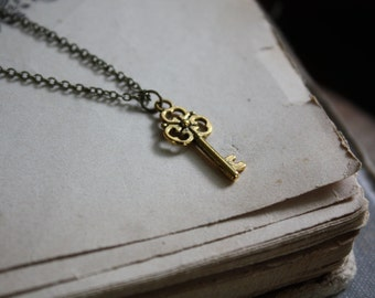 Tiny Key Necklace - Key Necklace - Gold Key Necklace - Minimal Key Necklace