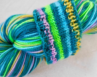 Teal Stripes Self-Striping Superwash Merino and Nylon Blend Sock Yarn